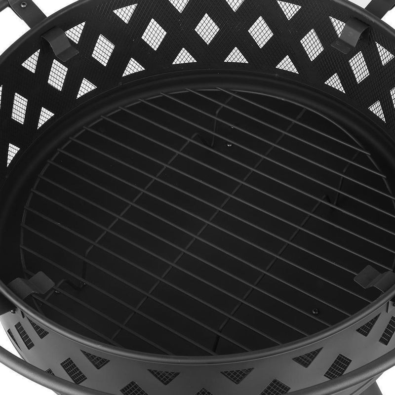 Grillz 32 Inch Portable Outdoor Fire Pit and BBQ - Black DSZ