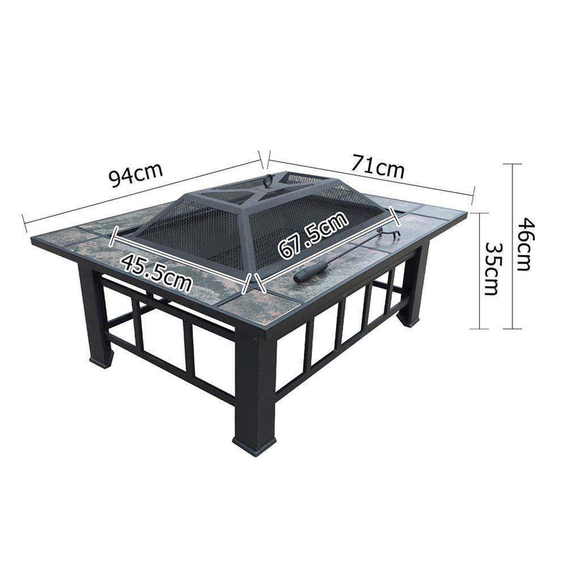Grillz Outdoor Fire Pit BBQ Table Grill Fireplace with Ice Tray DSZ