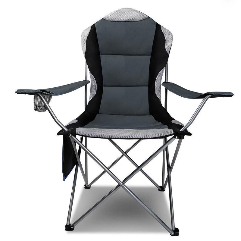 Set of 2 Portable Folding Camping Armchair - Grey DSZ