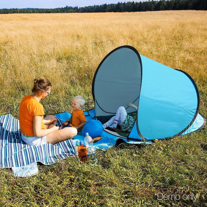 Weisshorn 3 Person Portable Pop Up Camping Tent - Blue DSZ