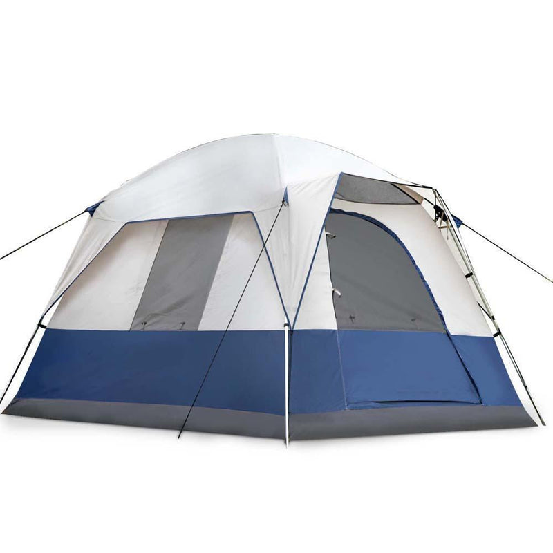 Weisshorn 4 Person Canvas Camping Tent - Navy & Grey DSZ