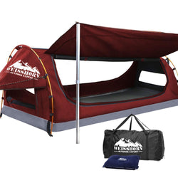 WEISSHORN King Single Camping Swags Canvas Swag Tent with Mattress Red Simple deals