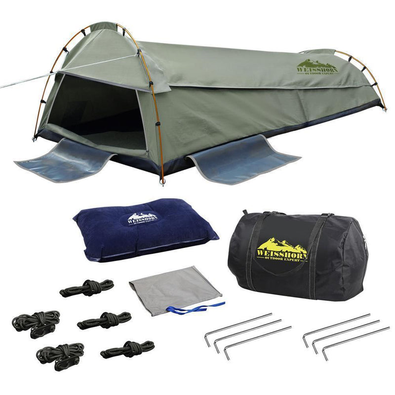 Weisshorn King Single Swag Camping Swag Canvas Tent - Celadon DSZ
