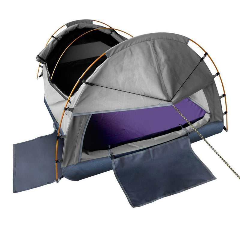 Weisshorn King Single Swag Camping Swag Canvas Tent - Grey DSZ