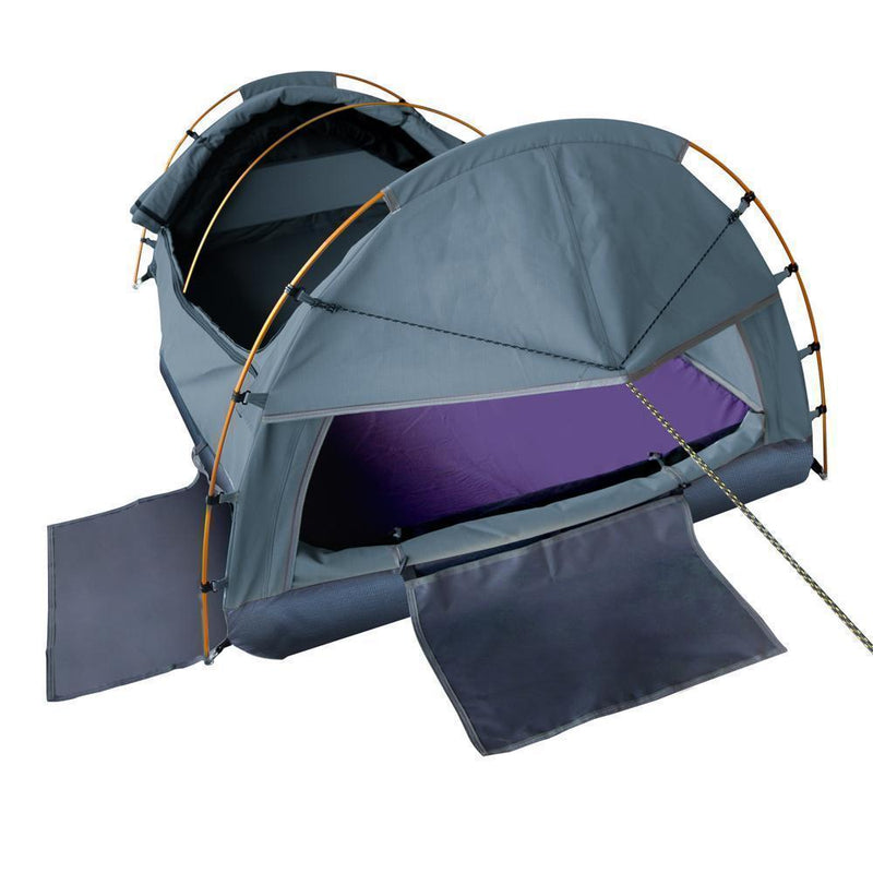 Weisshorn King Single Swag Camping Swag Canvas Tent - Navy DSZ