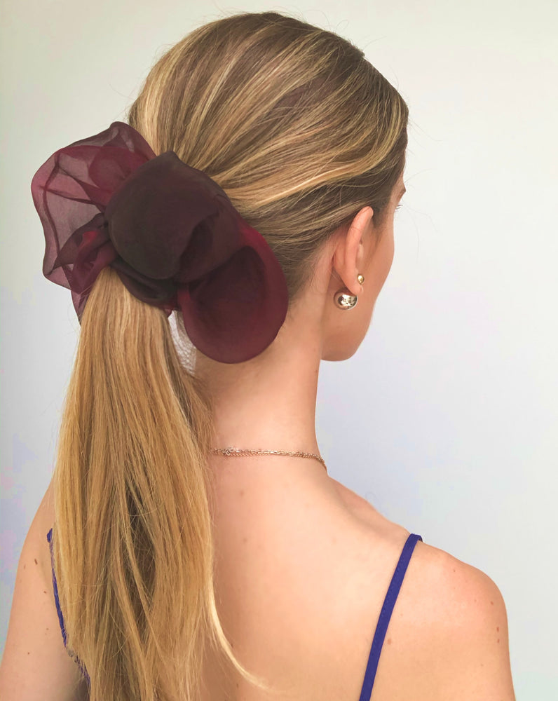 Shadow Oversized Scrunchie in Mahogany Red