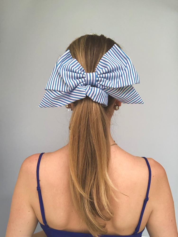 Load image into Gallery viewer, Blue Stripe Cotton Bow Scrunchie
