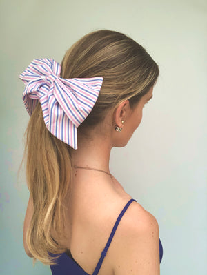 Pink Stripes Cotton Bow Scrunchie