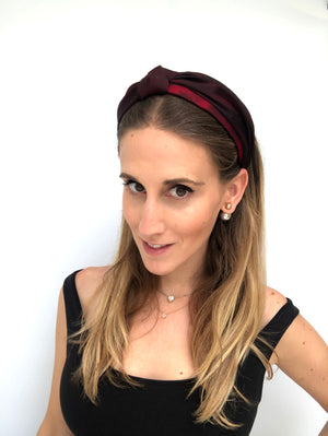 Load image into Gallery viewer, Shadow Red Organza Top Knot Headband