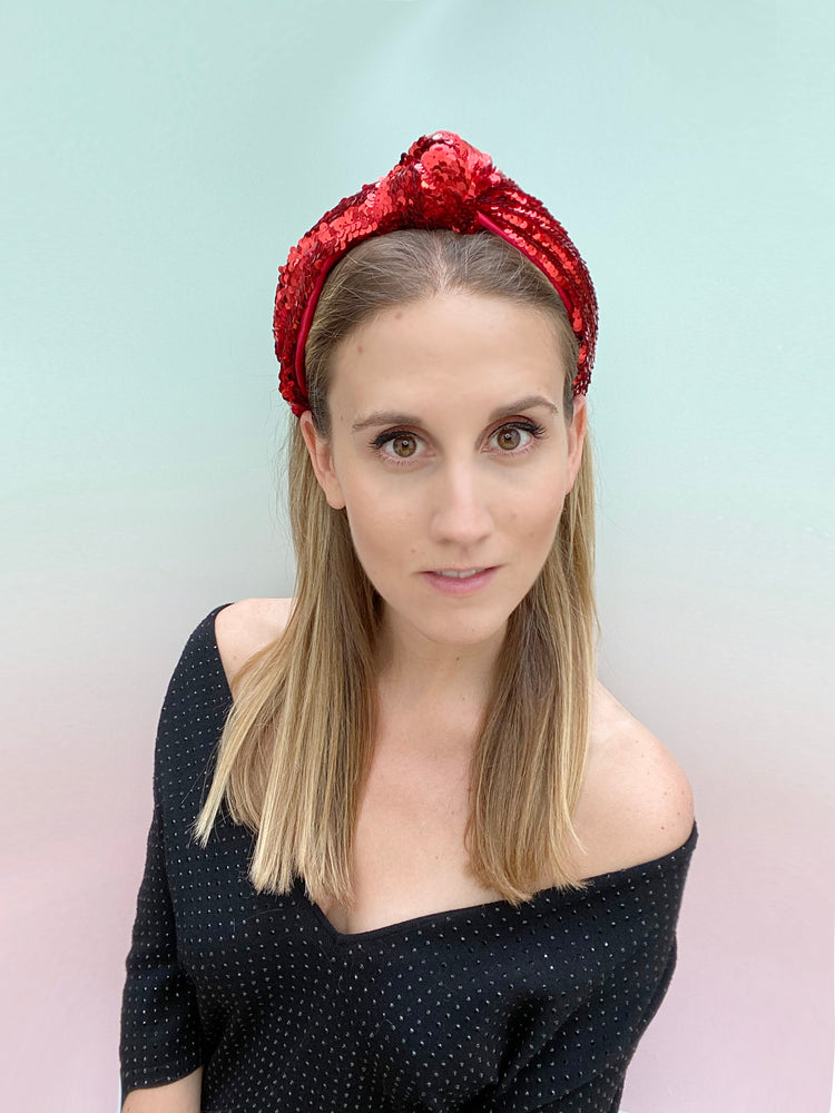 Natalie Party Red Top Knot
