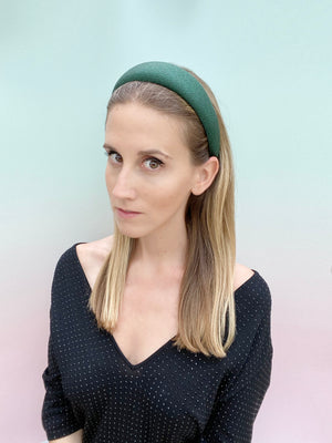 Natalie Shimmer Green Padded Headband