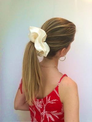 Load image into Gallery viewer, Ivory Oversized Satin Scrunchie