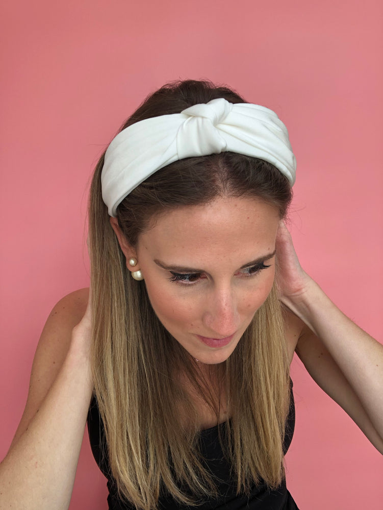 Load image into Gallery viewer, White Top Knot Headband