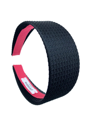 Black Textured Flat Wide Flat Band
