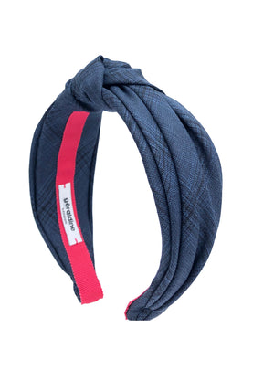 Load image into Gallery viewer, Suit Up! Top Knot Headband in Blue