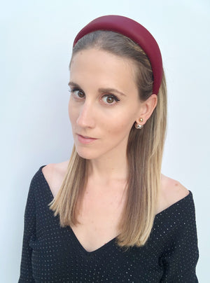 Lucie Padded Burgundy Leather Headband