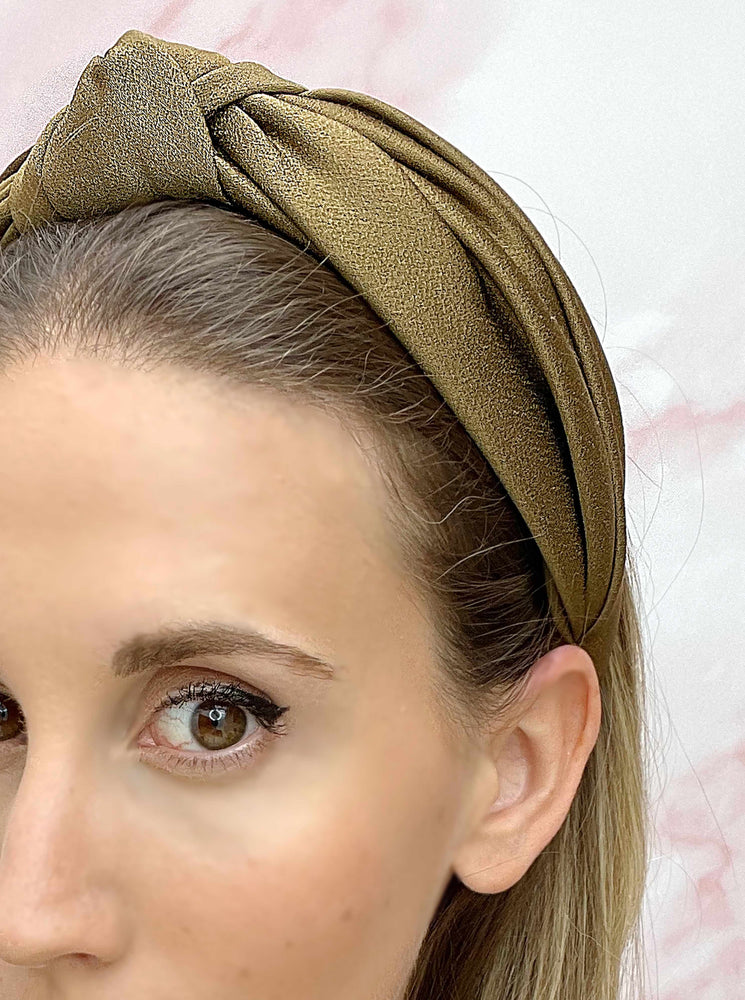 Load image into Gallery viewer, Chelsea Top Knot Headband Khaki
