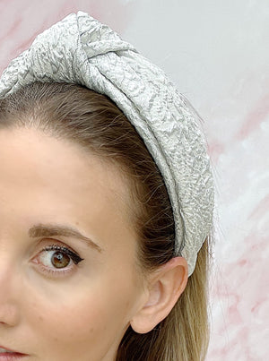 Chelsea Top Knot Headband White & Silver
