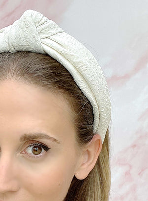 Chelsea Top Knot Headband White