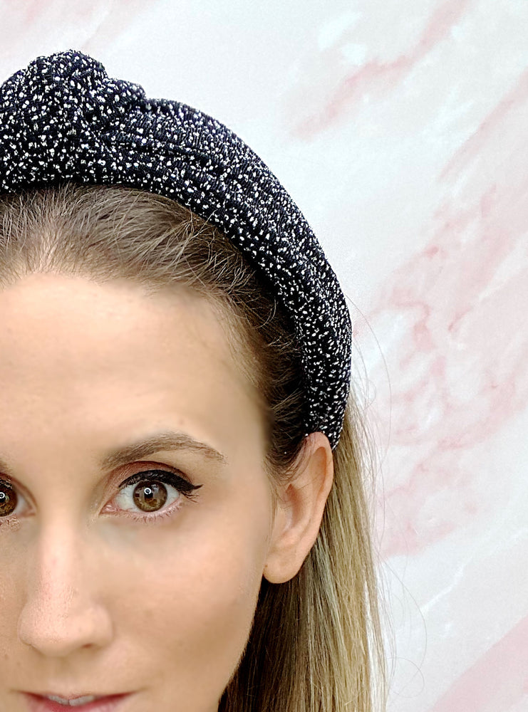 Chelsea Top Knot Headband Black and Silver