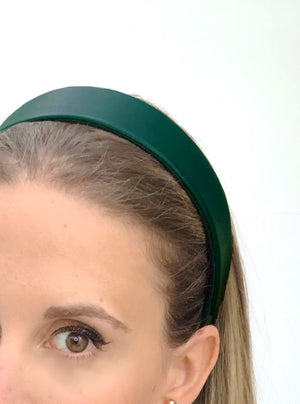 Lucie Leather Flat Headband Green