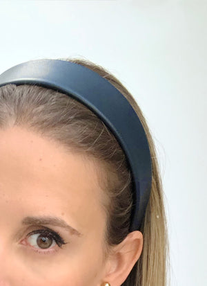 Lucie Leather Flat Headband Navy