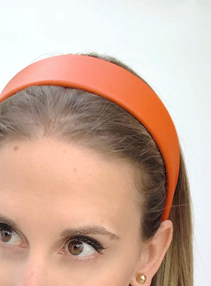 Lucie Leather Flat Headband Orange