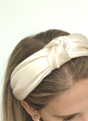 Load image into Gallery viewer, Chelsea Top Knot Headband Ivory