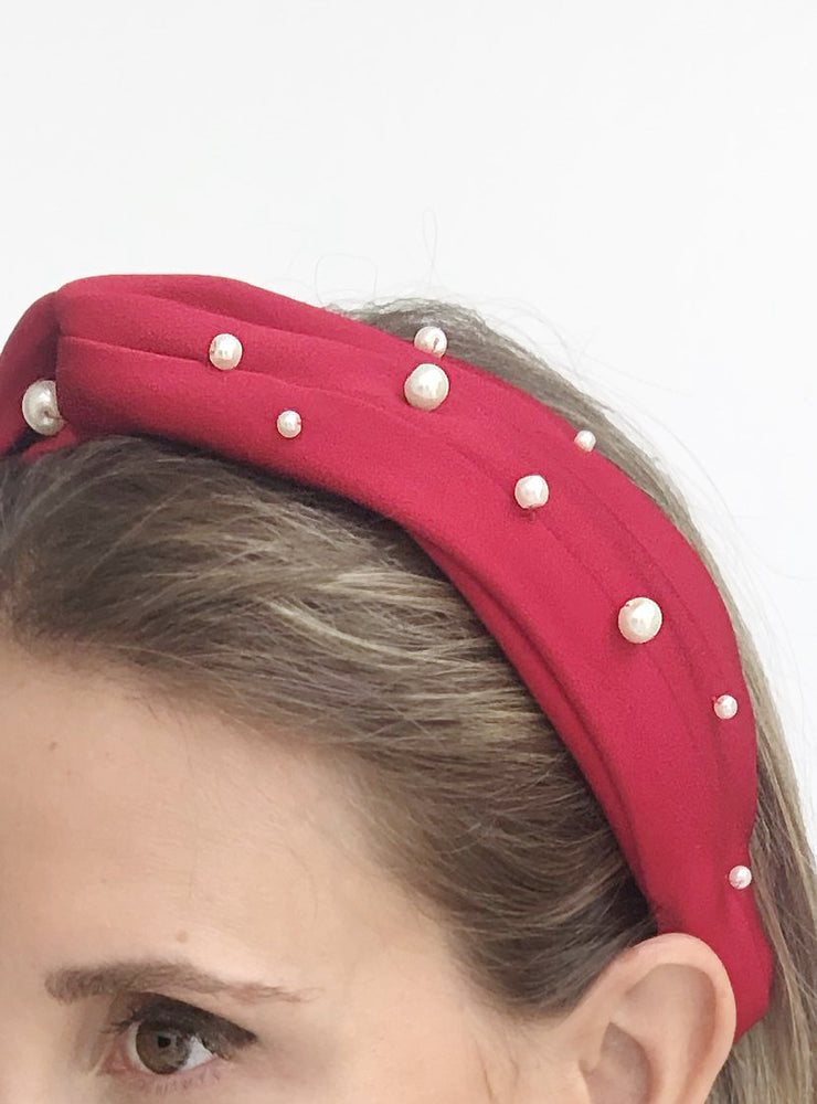 Chelsea Top Knot Headband with Pearls