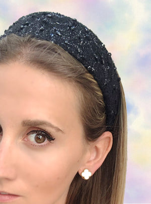 Load image into Gallery viewer, Poppy Flat Wide Headband Black