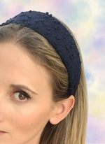Poppy Flat Wide Headband Navy