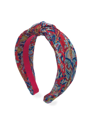 Vagabond Print Red Top Knot Headband