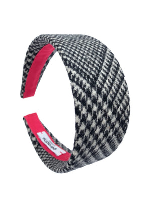 Load image into Gallery viewer, Wool Houndstooth Flat Wide Headband