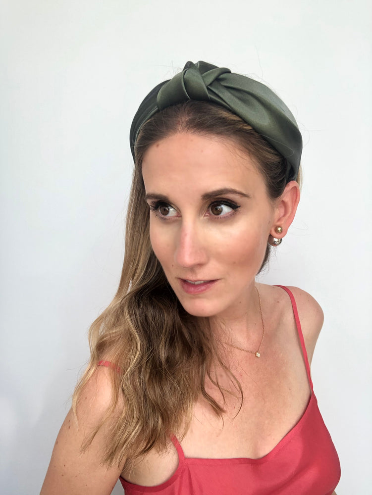 Load image into Gallery viewer, Metallic Green Top Knot Headband