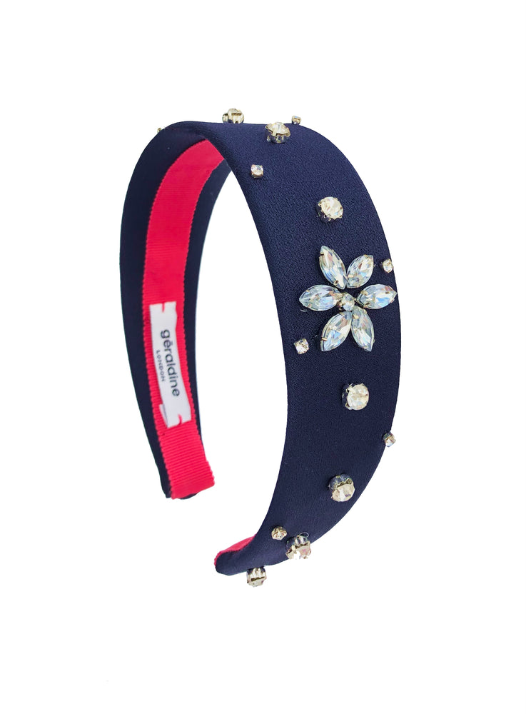 Crystal Celeste Navy Flat Band