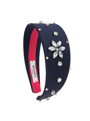 Load image into Gallery viewer, Crystal Celeste Wide Navy Flat Band