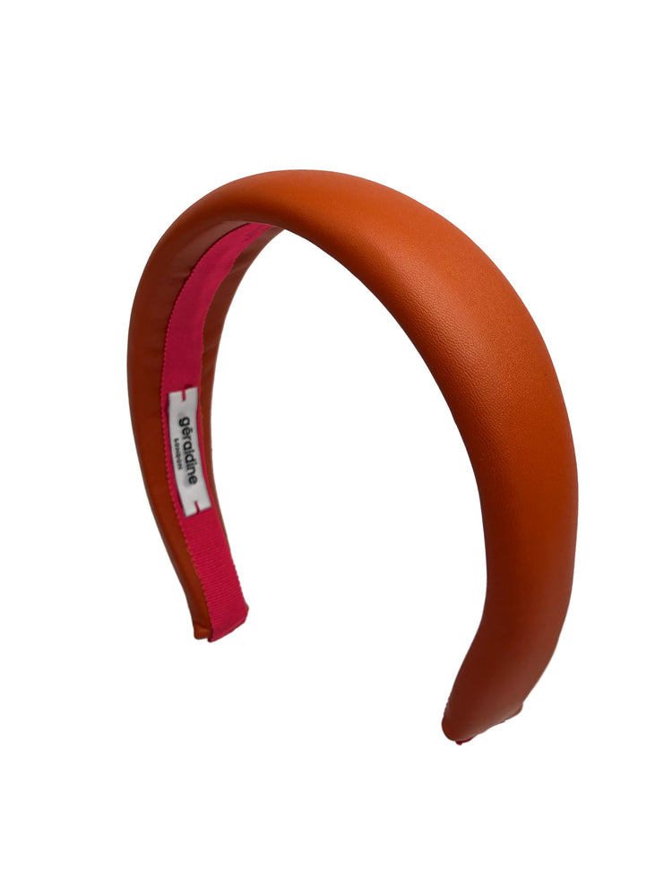 Load image into Gallery viewer, Lucie Padded Orange Leather Headband