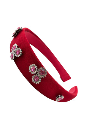 Scarlett red with pink rhinestone headband