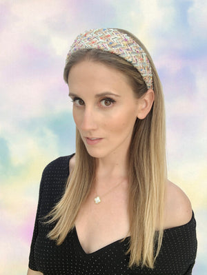 Load image into Gallery viewer, Pink Gold Bouclé Flat Wide Headband
