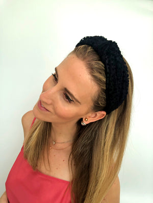 Load image into Gallery viewer, Black on Black Polka Dot Top Knot Headband