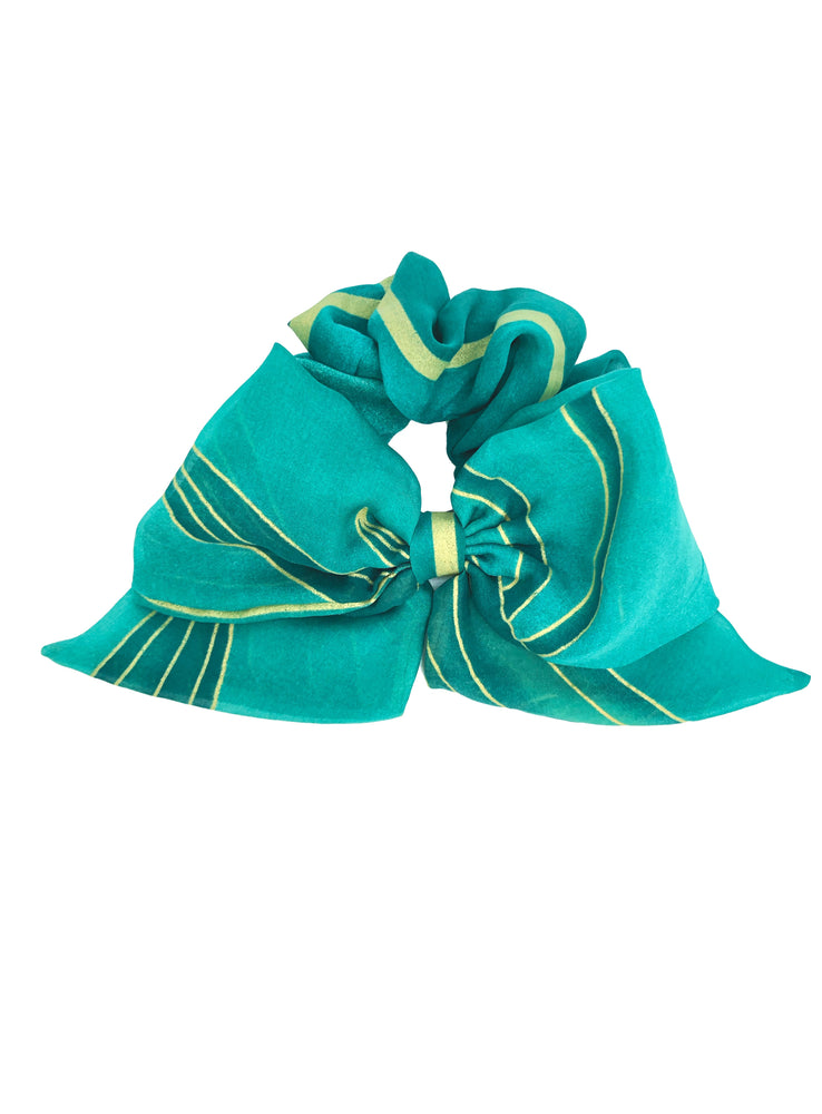 Load image into Gallery viewer, French Riviera Silk Bow Scrunchie