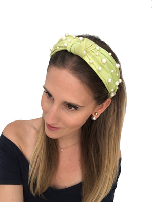Embellished Lime Green Top Knot Headband with Pearls