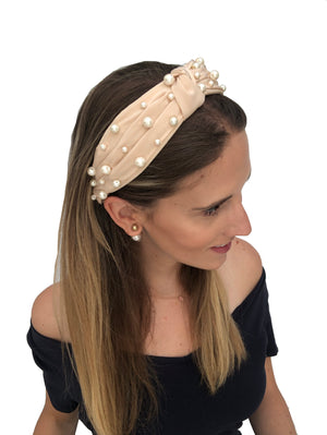 Load image into Gallery viewer, Pearl Peach Top Knot Headband
