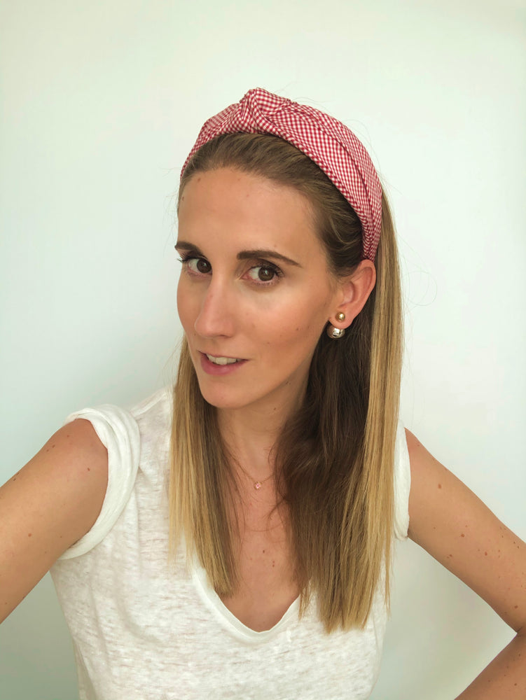Red Gingham Top Knot Headband