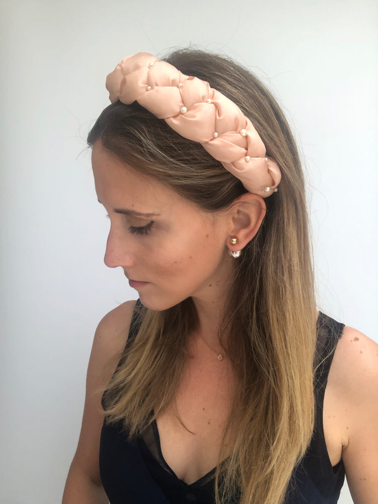 Salmon Braided Pearl Headband