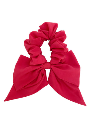 Bow Scrunchie in Strawberry PInk