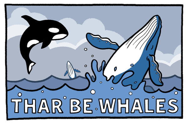 Thar Be Whales - Postcard