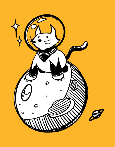 Space Cat - Adult T-Shirt