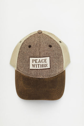 Soft Mesh Trucker hat, Brown Herringbone/wax brim