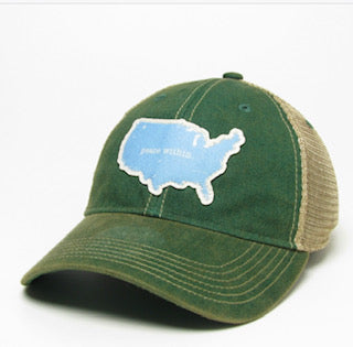 Trucker Hat, USA green/baby blue mesh back